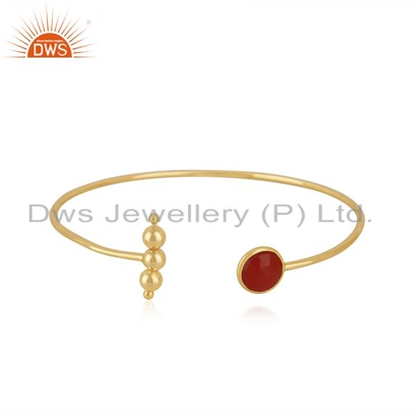 Red Onyx Gemstone Gold Plated 925 Silver Cuff Bracelet Suppliers India