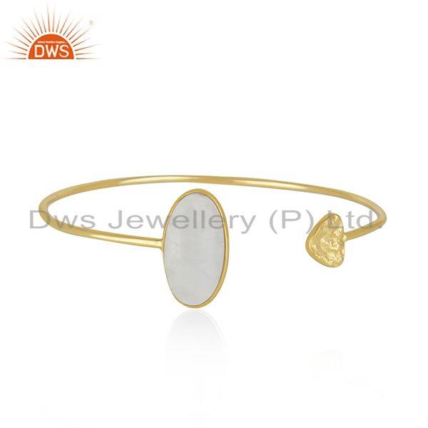 Rainbow Moonstone Yellow Gold Plated Sterling Silver Cuff Bracelet
