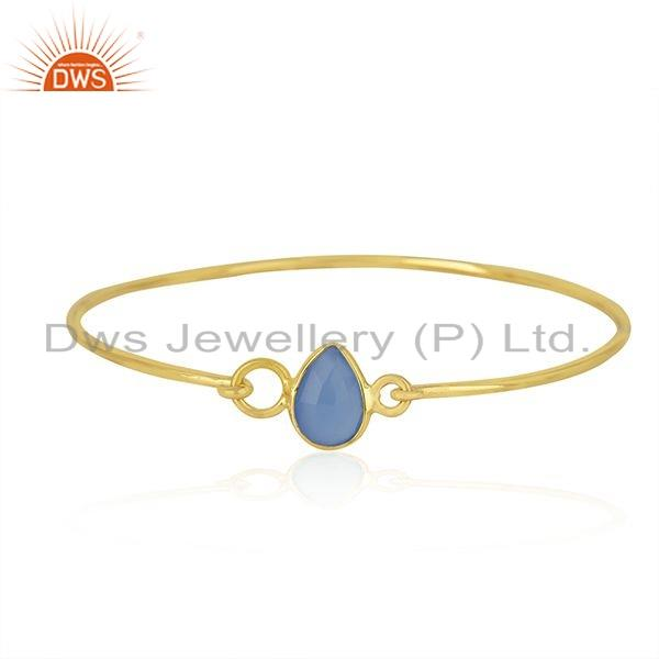 Blue Chalcedony Gemstone Gold Plated Designer Silver Bangle Jewelry