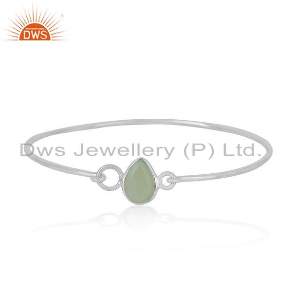 Prehnite Chalcedony Natural Gemstone 925 Fine Silver Bangle Jewelry