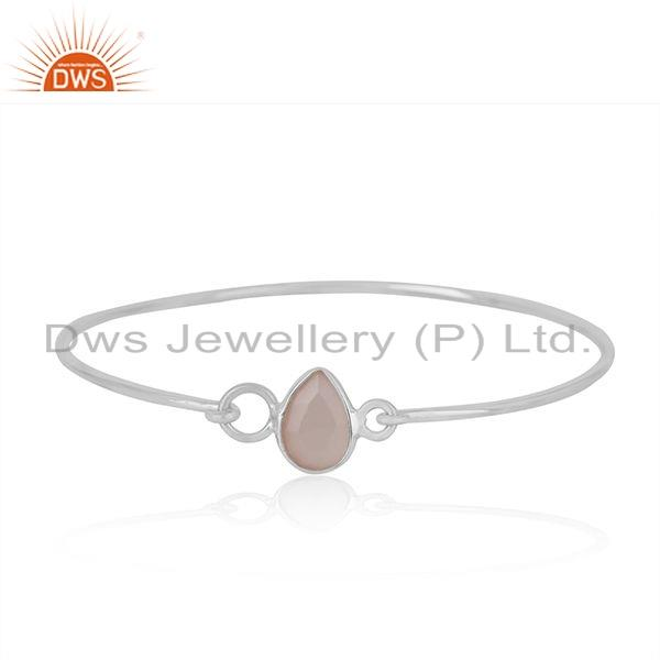 Rose Gold Plated Sterling Silver Handmade Charm Bangle with Chalcedony