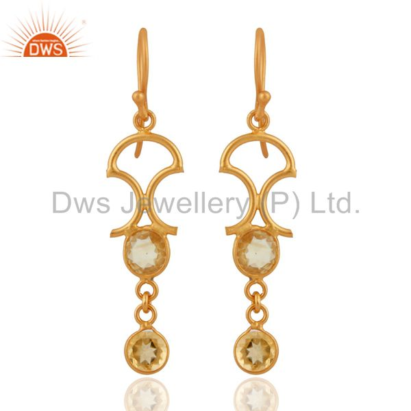 Natural Citrine Gemstone 18k Gold Plated Sterling Silver Fashion Dangle Earrings