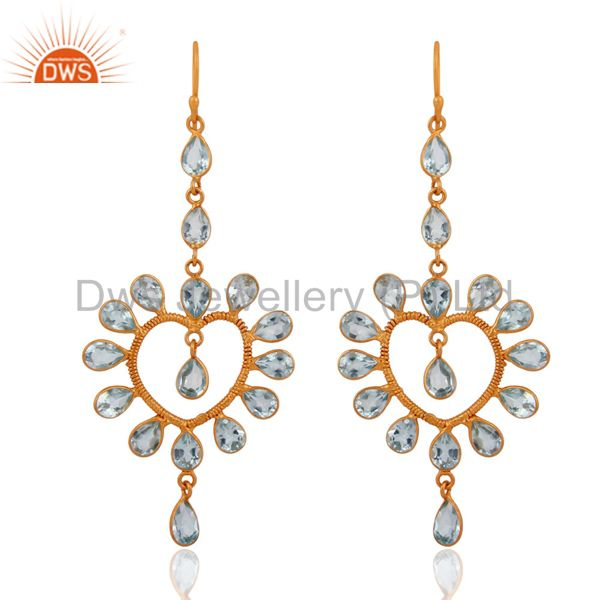 925 Sterling Silver Blue Topaz Gemstone Heart Design Earrings With Gold Plated