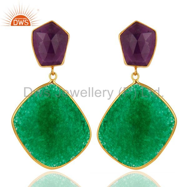 18K Gold Plated Sterling Silver Green Aventurine And Amethyst Dangle Earrings
