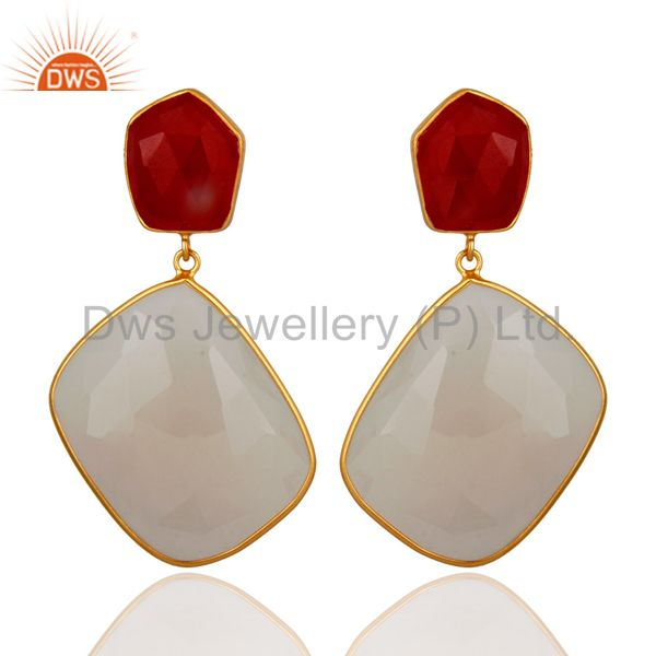 18K Gold Plated Sterling Silver Chalcedony And Red Aventurine Dangle Earrings