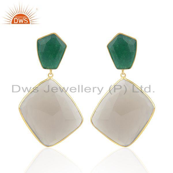 925 Silver Gold Plated Multi Gemstone Earring Jewelry Manufacturer for Designers