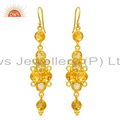 925 Sterling Silver Citrine Gemstone Dangle Earrings With 18K Gold Plated