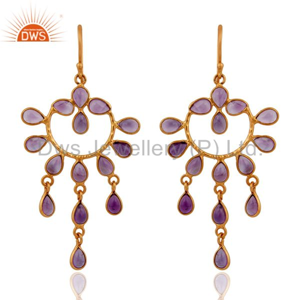 Designer 925 Sterling Silver Amethyst Gemstone Handmade Earring With Gold Plated
