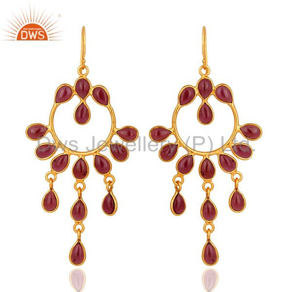 Handmade Natural Garnet Gemstone 925 Sterling Silver Earring With Gold Plated