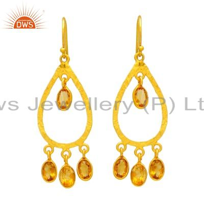 Natural Citrine Gemstone Occasion Earrings 925 Sterling Silver Wholesale Jewelry