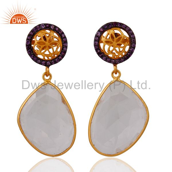 Sterling Silver Natural Amethyst Set Crystal Quartz Earring With Gold Plated
