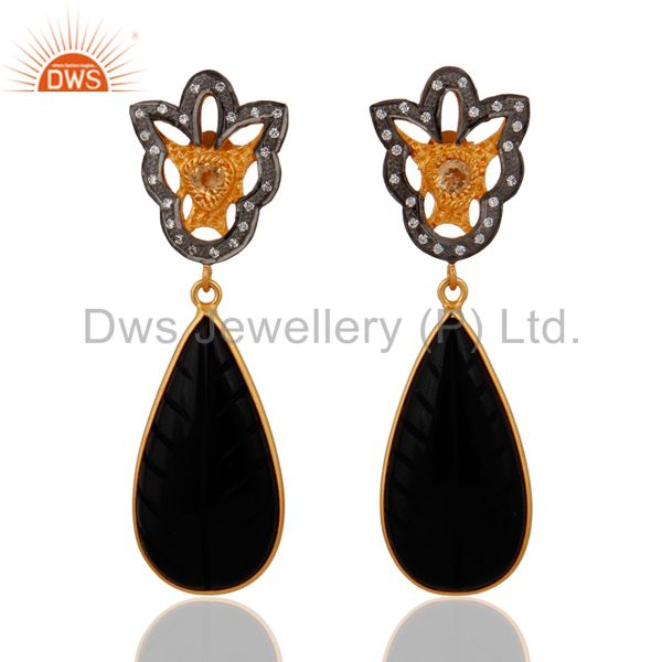 Carving Black Onyx Gemstone Citrine Sterling SIlver Designer Pave CZ Earrings