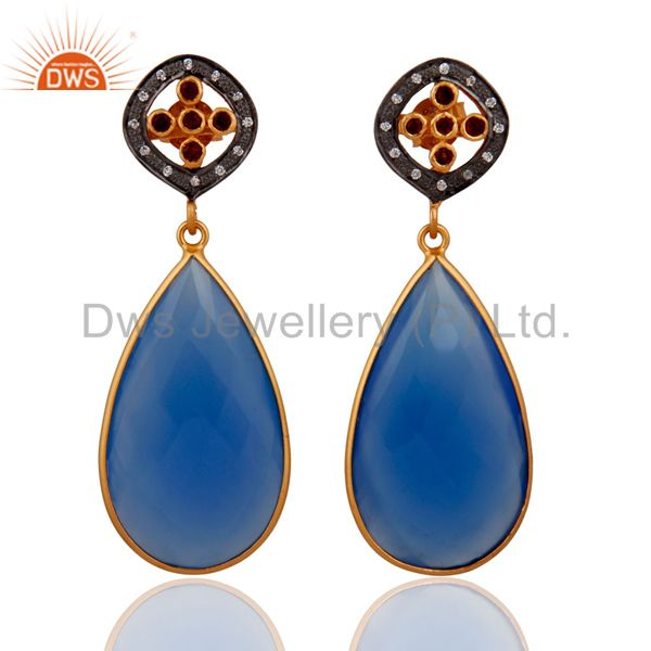 Blue Chalcedony Gemstone Yellow Gold Plated Sterling Silver Garnet Drop Earring