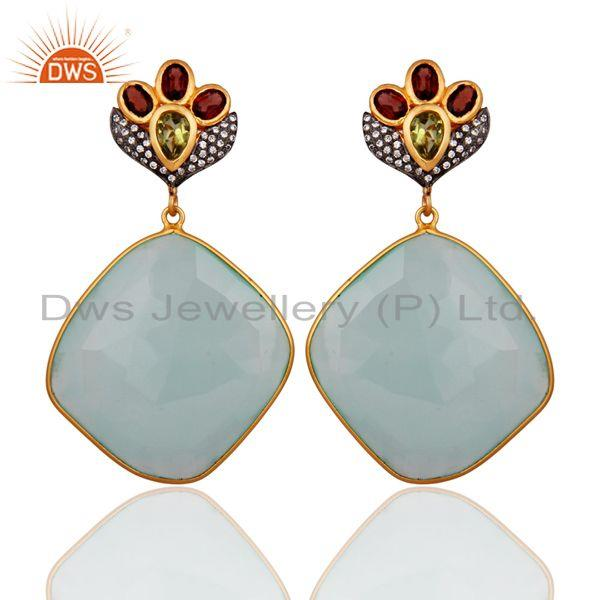 AQUA Chalcedony Faceted Plated 18kt. Gold over Sterling Silver Gemstone Earring