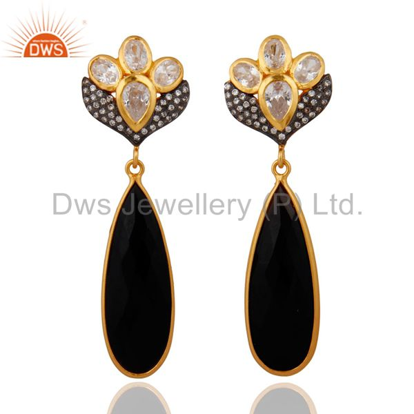 Natural Black Onyx Bezel Set Gemstone Post Earring in 22k Gold Plated On Silver