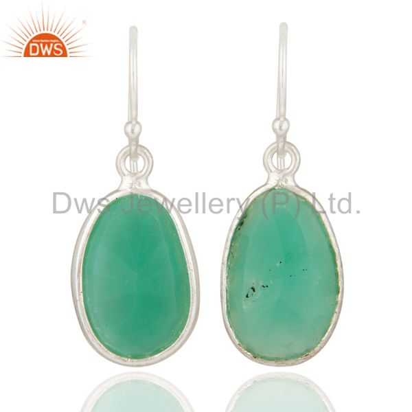 Faceted Chrysoprase Gemstone Bezel Set Drop Earrings Made In Solid Silver 925