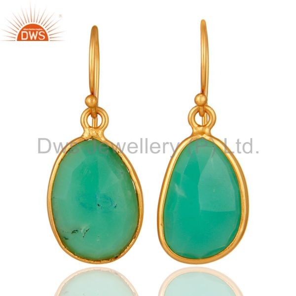 Handmade Sterling Silver With Gold Plated Chrysoprase Bezel Gemstone Earrings