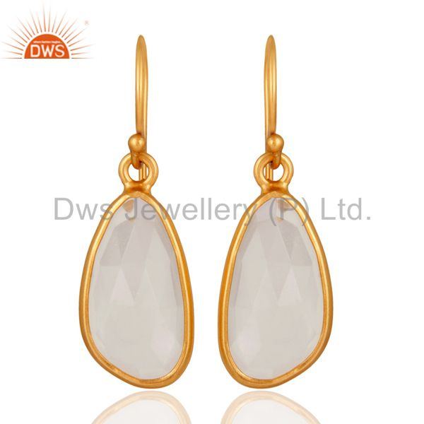 Sterling Silver Natural Crystal Quartz Hook Bezel Set Earrings With Gold Plated
