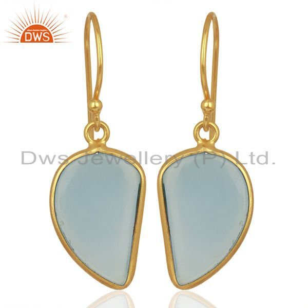 Blue Chalcedony Handcrafted Artisan Abstract Gold Plated Drop Wholesale Earrings