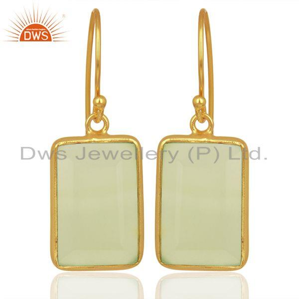 Prehnite Chalcedony Handcrafted Artisan Gold Plated Drop Wholesale Jewelry