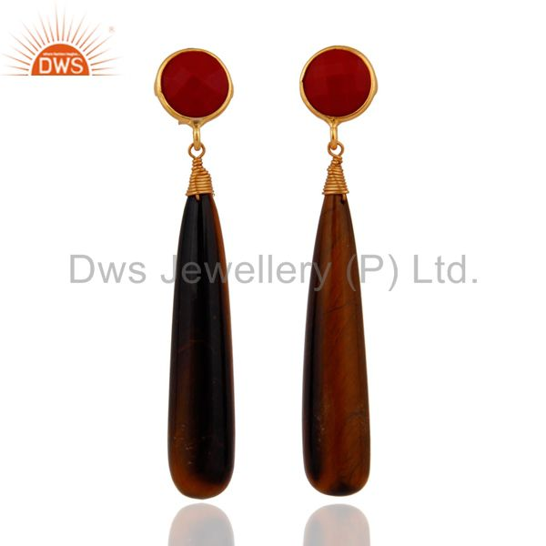 Genuine Coral & Tiger Eye Teardrop Gemstone Earrings in 18k Gold On 925 Silver