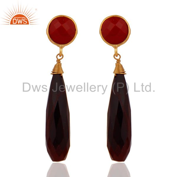Yellow Gold Plated 925 Sterling SIlver Tiger Eye & Coral Drop Dangle Earrings