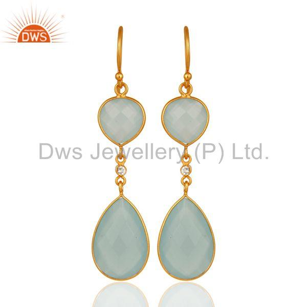 Artisan-Crafted Sterling Silver Gold Plated Dyed Blue Chalcedony Drop Earrings