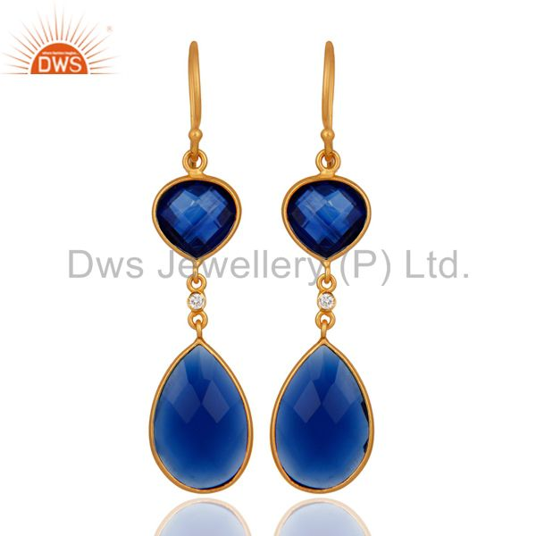 Handmade 925 Sterling Silver Blue Corundum Earring With 18k Gold Plated Jewelry