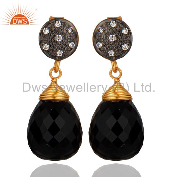 18ct Gold Plated on 925 Sterling Silver Black Onyx Drop Gemstone Earrings