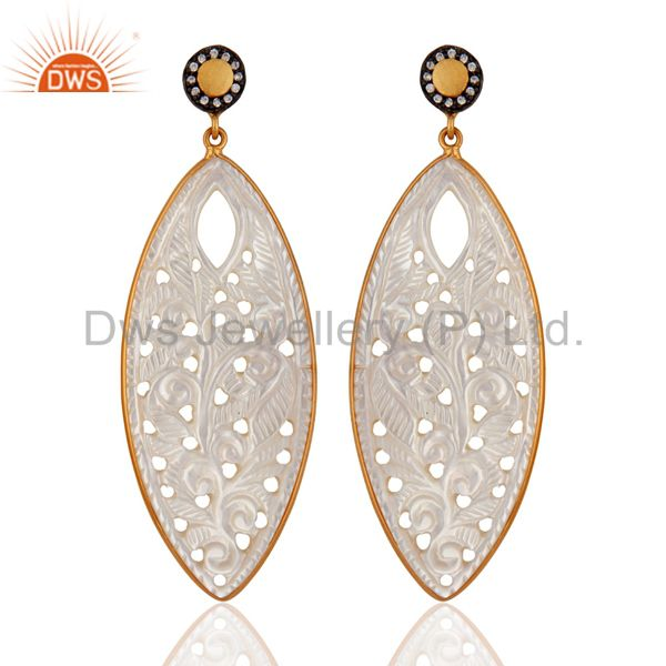 18k Gold On Sterling Silver Natural Mother of Pearl Carved Bezel Dangle Earring