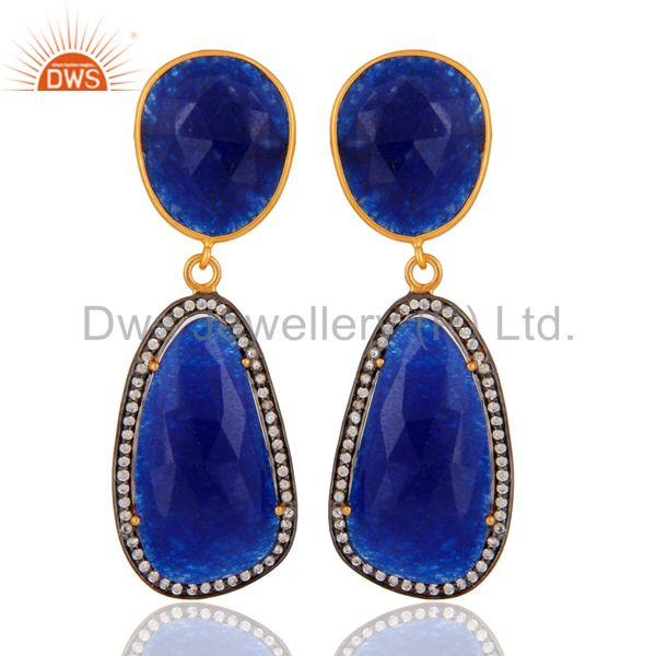 Natural Blue Aventurine Gemstone 925 Sterling Silver Fancy Shape Earring With CZ
