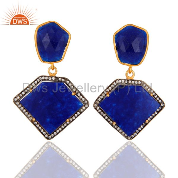 Blue Aventurine And Cubic Zirconia 18K Gold Plated 925 Sterling Silver Earrings