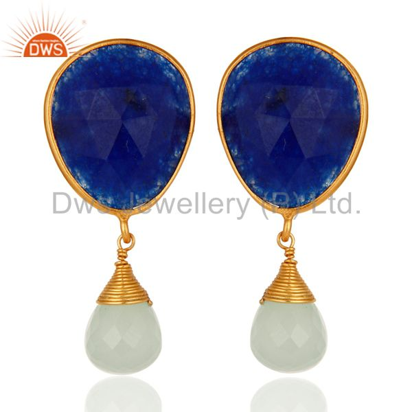 Gold Plated Sterling Silver Bezel Set Faceted Blue Aventurine Gemstone Earrings