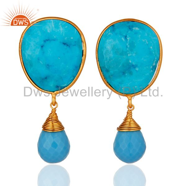 14-Karat Gold Plated Sterling Silver Faceted Turquoise Gemstone Dangle Earrings