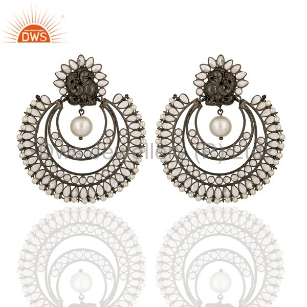 Handmade 925 Sterling Silver Designer Earrings With White Pearl And CZ