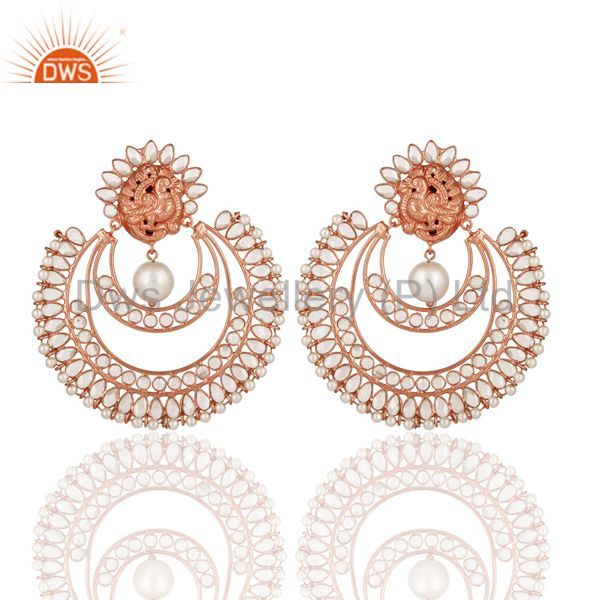 Indian Rose Gold Plated Sterling Silver Natural Pearl And White Zircon Earrings