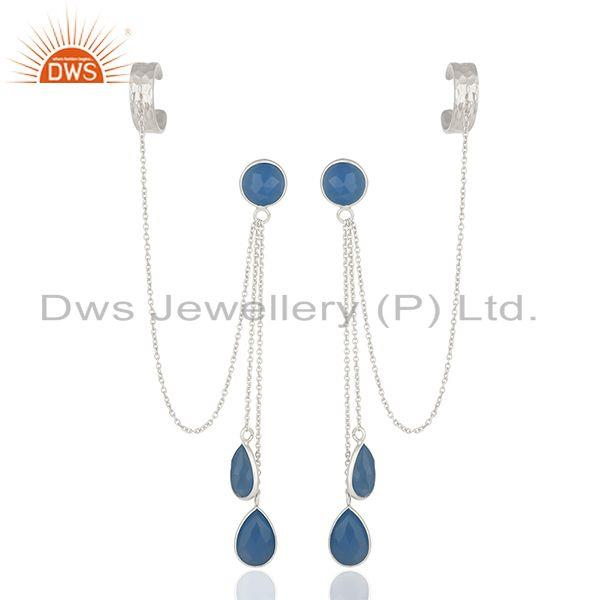 Blue Chalcedony Gemstone 925 Sterling Silver Ear Cuff Earrings Suppliers