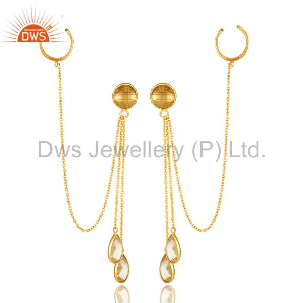 18K Yellow Gold Plated Sterling Silver Citrine Gemstone Chain Ear Cuff Earrings