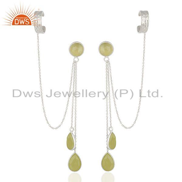 Yellow Chalcedony Gemstone 925 Fine Silver Ear Cuff Earrings Manufacturer