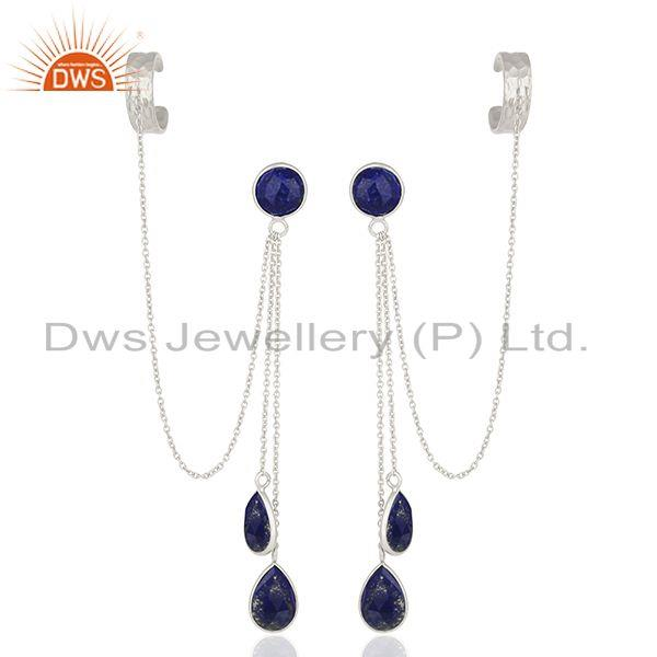Lapis Lazuli Gemstone 925 Silver Ear Cuff Earrings Manufacturers