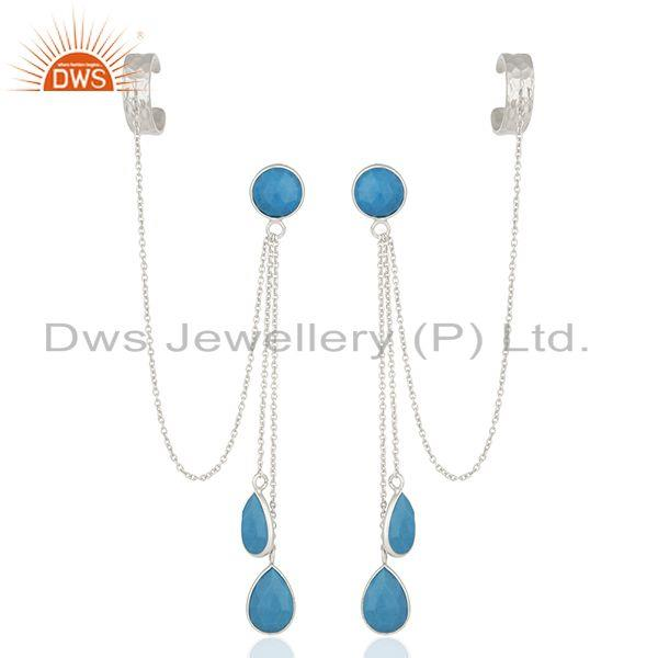 Matrix Turquoise Gemstone 925 Silver Ear Cuff Earrings Manufacturers