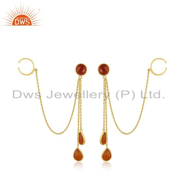 18K Yellow Gold Plated Sterling Silver Red Onyx chain Ear Cuffs Earrings