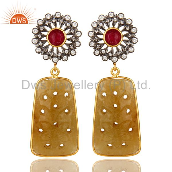 22K Gold Plated Sterling Silver Yellow Sapphire Carved Dangle Earrings With CZ