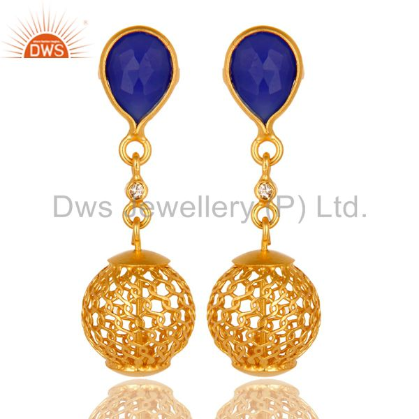 18K Yellow Gold Plated Sterling Silver Blue Chalcedony Designer Dangle Earrings