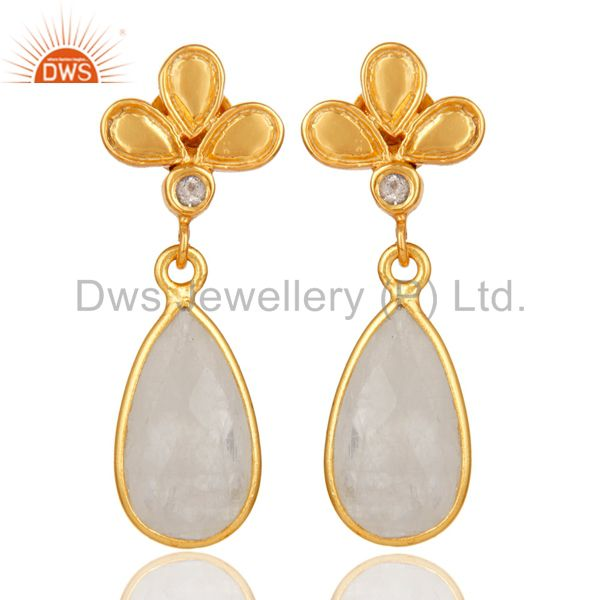 18K Gold Plated Rainbow Moonstone and White Topaz Sterling Silver Dangle Earring