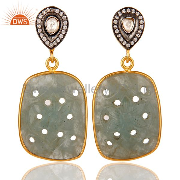 Blue Sapphire Carving and Crystal 18K Gold Plated Sterling Silver Drop Earring