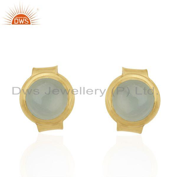 14K Yellow Gold Plated Sterling Silver Dyed Chalcedony Bezel Set Studs Earrings