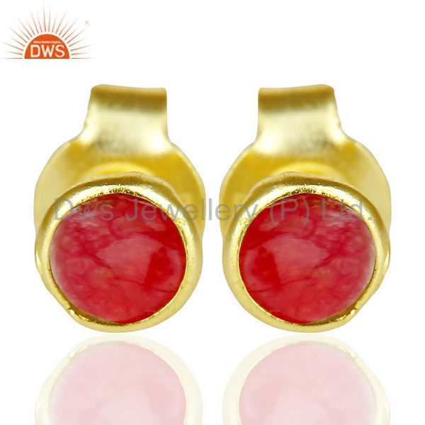 Natual Red Aventurine Cabochon Tiny 4MM Round Stud 14 K Gold Plated Earring