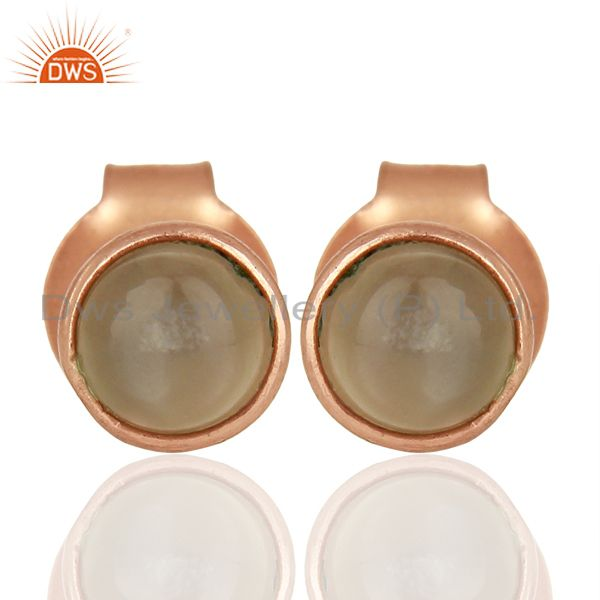 Gray Moonstone Rose Gold Plated Silver Gemstone Stud Earrings Supplier