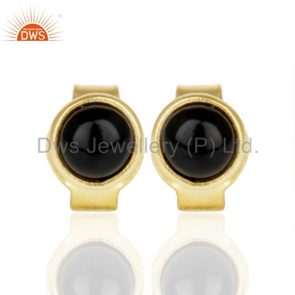 Black ONyx Cabochon Tiny 4MM Round Stud 14 K Gold Plated Earring